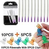 10pcs Fiberglass Nails Extension Form & 5pcs Nail Pinching Clips Nail Extension Kit Fibernails Building UV Gel Acrylic Nails Tips Tool for Nail Art DIY