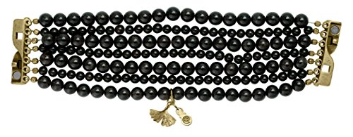 Pearl & Spirit - 15Rns-BRC12S-Bracelet Femme-Ginkgo-Plaqué Or-Grenat-T 16/17 Cm