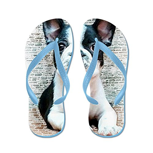 CafePress French Bulldog - Flip Flops, Funny Thong Sandals, Beach Sandals Caribbean Blue