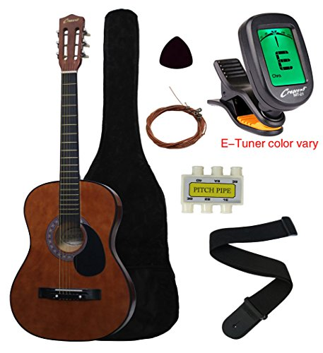 Crescent MG38-CF 38″ Acoustic Guitar Starter Package, COFFEE (Includes CrescentTM Digital E-Tuner)