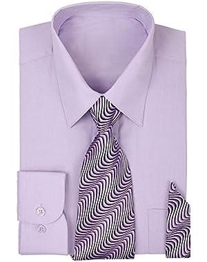 Men's Long Sleeve Dress Shirt with Matching Tie & Handkerchief Set | Dress Shirts for Men | Button up Shirt