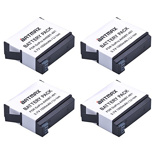 Batmax 4-Pack High Capacity Go pro Camera HERO 4 Replacement Batteries for GoPro HERO4, AHDBT-401 Battery Accessory