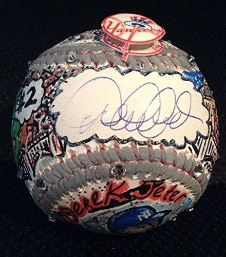 DEREK JETER AUTOGRAPHED CHARLES FAZZINO POP ART MLB BASEBALL(MLB AUTHENTICATED)