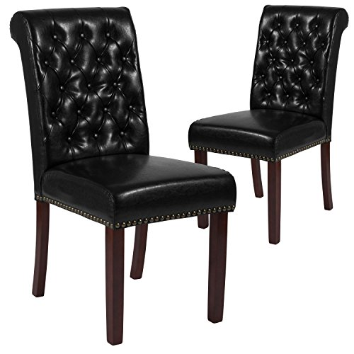 Flash Furniture 2 Pk. HERCULES Series Black Leather Parsons Chair with Rolled Back, Nail Head Trim and Walnut Finish