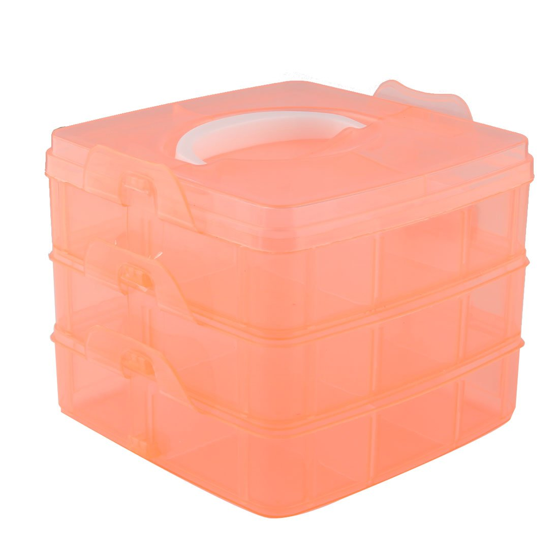 uxcell Plastic Home 18 Compartments Adjustable Cosmetic Jewelry Organzier Box Case Orange