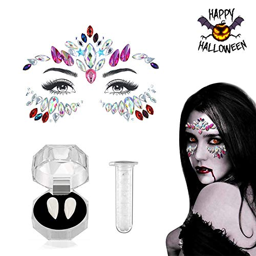 Halloween Lady Devil Makeup (Luxital Halloween Cosplay Vampire Teeth Women Mermaid Face Gems Glitter,Rhinestone Face Jewels,Crystals Face Stickers)