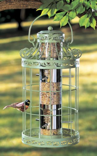 WILD BIRD SEED FEEDER EASY FILL GREEN COLOR SQUIRREL PROOF METAL BIRDFEEDER by Eade shop