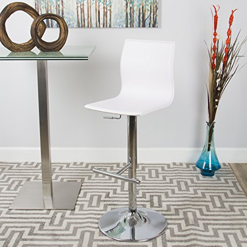 MIX Chrome Faux Leather White Adjustable Height Swivel Bar Stool with Round Trumpet ()
