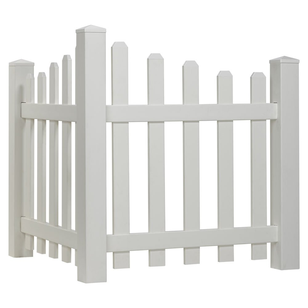 Outdoor Essentials Scalloped Picket Accent Fence with Dog Ear Shaped Cap