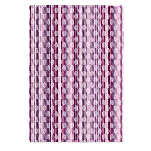(Pink Decor Fashionable Tablecloth,Stripes Lines with Abstract Round Circles Print for Secretaire Square Table Office Table,70.1''W X 84''L)