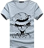 Anime One Piece T-Shirt Grey Top Short Sleeve One Piece Monkey D Luffy T-Shirt