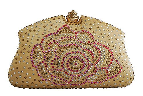 Chicastic Gold Rhinestone Purse Crystal Hard Color Box Clutch Cocktail Multi rTqB4r