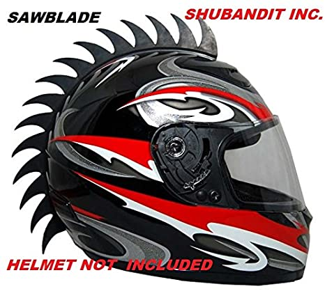 Black Sawblade Rubber Peel and Stick Helmet Mohawk Plus Bonus Shark Fin Motorcycles Dirt Bikes Snow