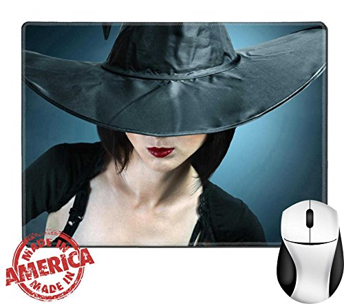 "Luxlady Natural Rubber Mouse Pad/Mat with Stitched Edges 9.8"" x 7.9"" IMAGE ID: 34578837 Young woman in a witch costume her face covered with a hat"
