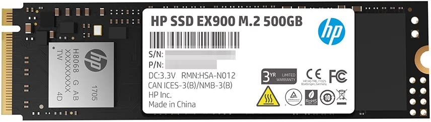 HP EX900 M.2 500GB PCIe 3.0 X4 Nvme 3D TLC NAND Internal Solid State Drive (SSD) - 2Yy44Aa#ABC