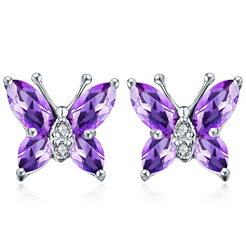 Aurora Tears Women Elegant Purple created-amethyst Butterfly Stud Earrings Gift for Girls (Amethyst Pendant Earrings)