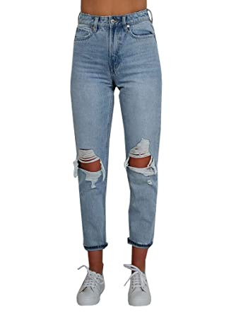 91a0b7554ba Womens Ripped Jeans High Waisted Mom Jeans Vintage Boyfriend Distresses Denim  Pants at Amazon Women s Jeans store