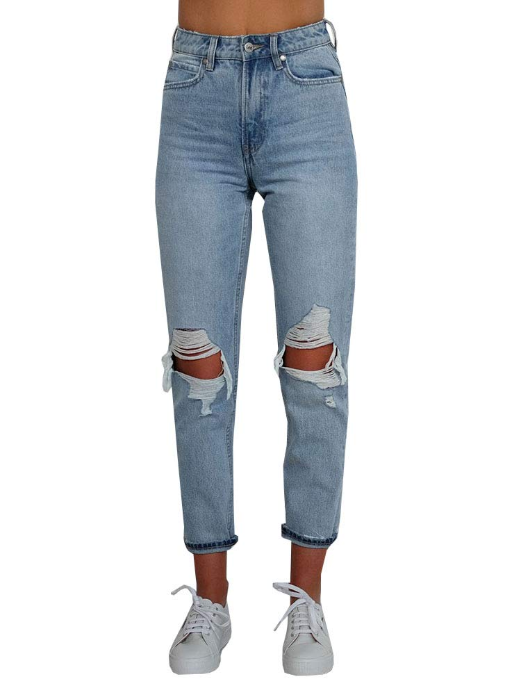 Dellytop Womens Ripped Jeans High Waisted Mom Jeans Vintage Boyfriend Distresses Denim Pants