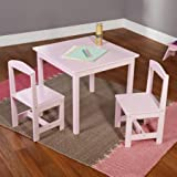 Hayden Kids 3-Piece Pink Wood Composite Table and Chairs Set