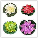 4PCS Set 30cm/12inch Artificial EVA Lotus Floating Water Lily Blooming Foam Flower Head Pool Fish Tank Pond Home Garden Decoration (Color 5)
