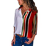 Automotive : Big Promotion! Womens Tops - WEUIE Womens Casual Long Sleeve Color Block Stripe Button T Shirts Tops Blouse(S, Z18)