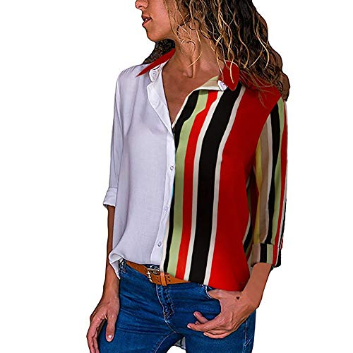 ZEFOTIM Clearance Sale Womens Casual Long Sleeve Color Block Stripe Button T Shirts Tops Blouse (US-18/CN-XL,Multicolor-6)