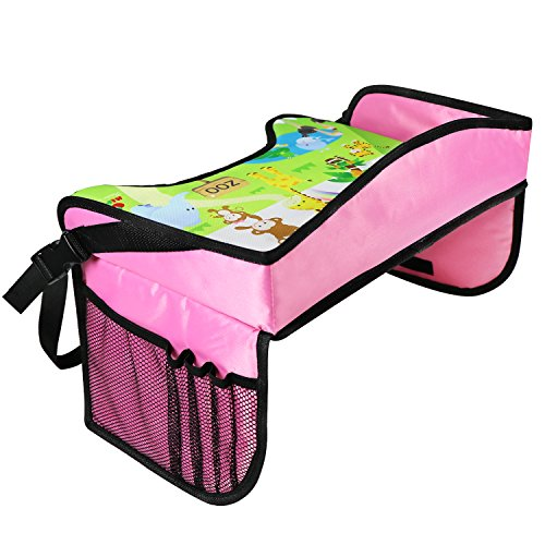 KIPTOP Childrens Travel Tray,Kids Play Tray for Snacks Drawing Baby Carriage Car Bus Train and Plane Journeys,Large,Comfortable, Strong Base,Works on Buggy and Pushchair (Pink) - Plain Pink Car Seat Covers