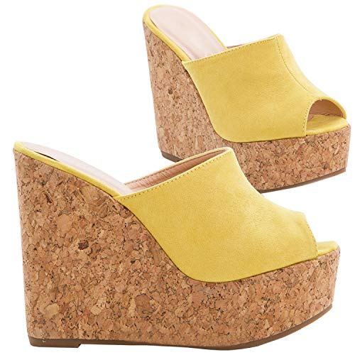 Syktkmx Womens Platform Wedge Sandals High Heel Slip on Peep Toe Cork Mules Slides (8 B(M) US, Yellow)