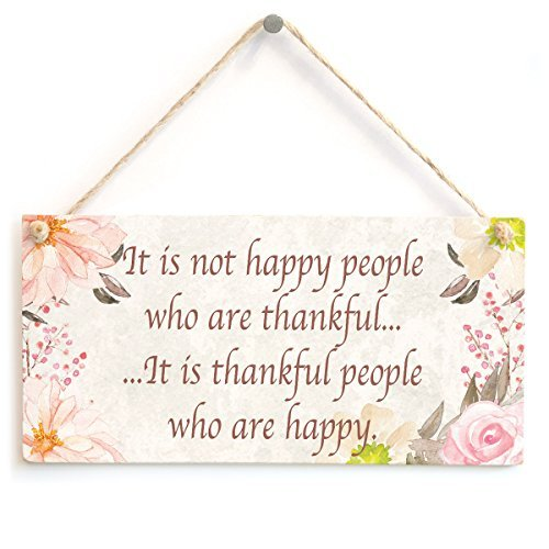 Happy Birthday Plaque (It is not happy people who are thankful¡ It is thankful people who are happy - Beautiful Handmade Thankful Gift Wood Sign Wall Plaque Wooden Hanging)