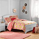 moroccan themed bedroom DP 3pc Girls Coral Pink Damask Jacquard Comforter Twin Set, Kids Bedding Bedroom, Adorable Teen Themed, Yellow Color Moroccan Floral Pattern Geometric Trellis Design, Polyester