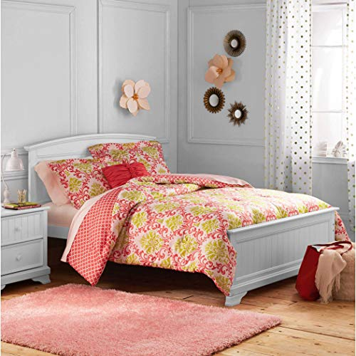 DP 3pc Girls Coral Pink Damask Jacquard Comforter Twin Set, Kids Bedding Bedroom, Adorable Teen Themed, Yellow Color Moroccan Floral Pattern Geometric Trellis Design, Polyester