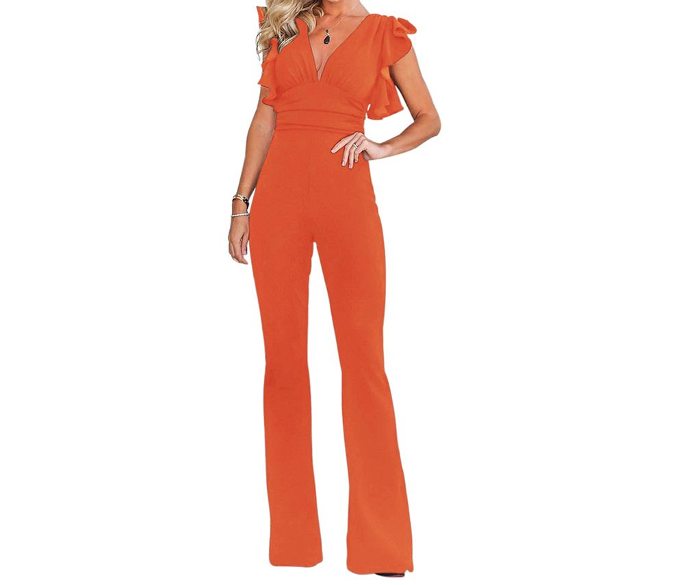 HAOAN Women Solid Color Short Sleeve Jumpsuit V Neck High Waist Wide Leg Long Pants Romper with Zipper by HAOAN