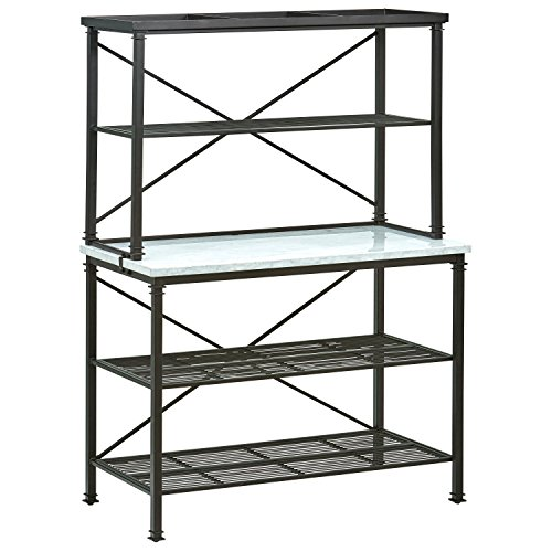 Stone Top Server - Stone & Beam Amber Metal Buffet Table Kitchen Storage Rack, 47.5