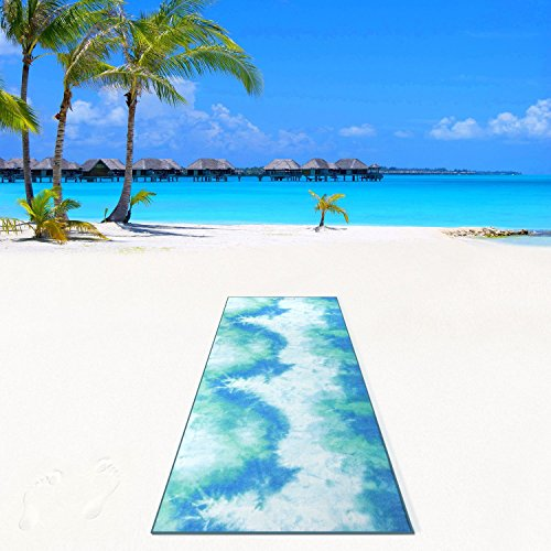Aurorae Synergy 2 in 1 Yoga Mat; with Integrated Non Slip Microfiber Towel. Best for Hot, Ashtanga, Bikram and Active Yoga Where You Sweat and Slip (Tahiti - Rose Namaste Yoga