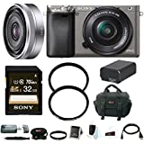 Sony Alpha A6000 Mirrorless Camera w/ 16-50mm, 16mm Lens & 32GB Bundle(Graphite)