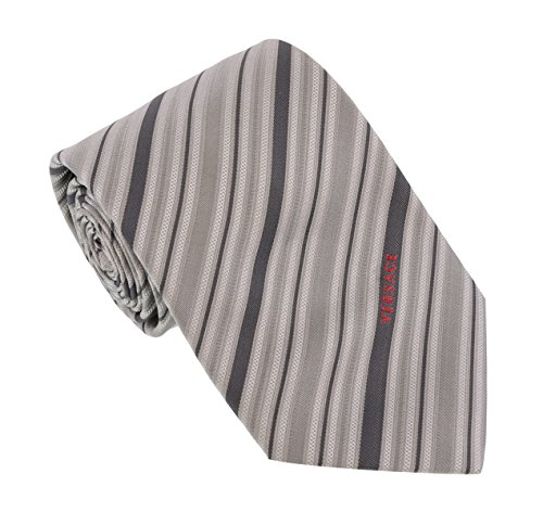 Versace Light Grey Woven Fine Multi Stripe Tie