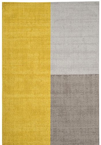 Blox Modern Shapes 100% Wool Hand Woven Mustard Ochre Yellow Neutral Living Room Rugs The Rug House Blox Rug 120x170cm Mustard_AS