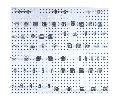 Triton Products LB2-Kit Two LocBoard Square Hole Pegboards 24-Inch W by 42-1/2-Inch H by 9/16-Inch D White Epoxy 18 Gauge Steel with 63-PieceLocHook Assortment by Triton 2