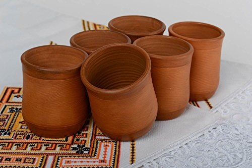 Set Of Handmade Clay Cups 6 Pieces 200 Ml Handmade Kitchen Eco Friendly Pottery