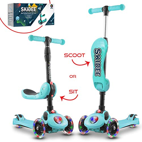Scooter For Kids with Folding Seat – 2019 NEW 2-in-1 Adjustable 3 Wheel Kick Scooter for Toddlers Girls & Boys – Fun Outdoor Toys for Kids Fitness, Outside Games, Kid Activities – Boy & Girl Toys ()
