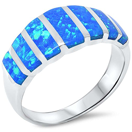 Lab Created Blue Opal .925 Sterling Silver Ring Size 7 ()