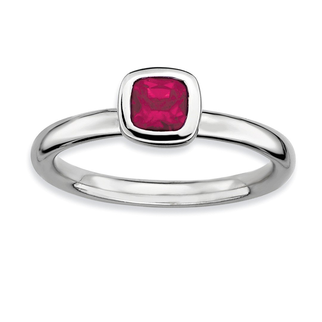 ICE CARATS 925 Sterling Silver Cushion Cut Created Red Ruby Band Ring Size 7.00 Stone Stackable Gemstone Birthstone July Fine Jewelry Ideal Gifts For Women Gift Set From Heart