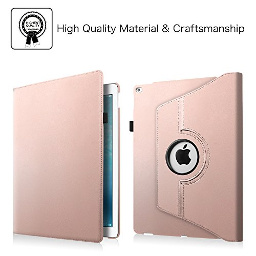Fintie iPad Pro 12.9 Case - 360 Degree Rotating Stand Case with Smart Cover Auto Sleep / Wake Feature for Apple 12.9-inch iPad Pro (2015 Version), Rose Gold Photo #8