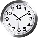 HIPPIH 12 Inch Silent Wall Clock, Non-Ticking Indoor Decorative Large Silver Aluminium Clocks for Office/Kitchen/Bedroom/Living Room/School