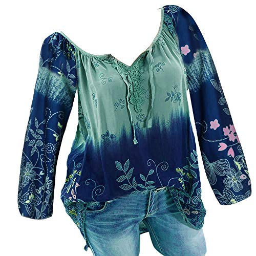 Wobuoke Womens V-Neck Lace Printed Bandage Long Sleeves Plus Size Tops Shirts Loose Blouse ()
