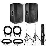 JBL PRX815W 15 inch Two-Way Full-Range Main System/Floor Monitors with WIFI Bundle Includes 2 Knox Gear Adjustable Tripod Speaker Stands with Carry Bag, 2 XLR and 2 TRS Cables
