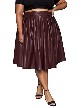 2e82f903f76 Astra Signature Women s Basic Versatile Flare Pleated Midi Quill Red Leather  Skater Skirt (14W