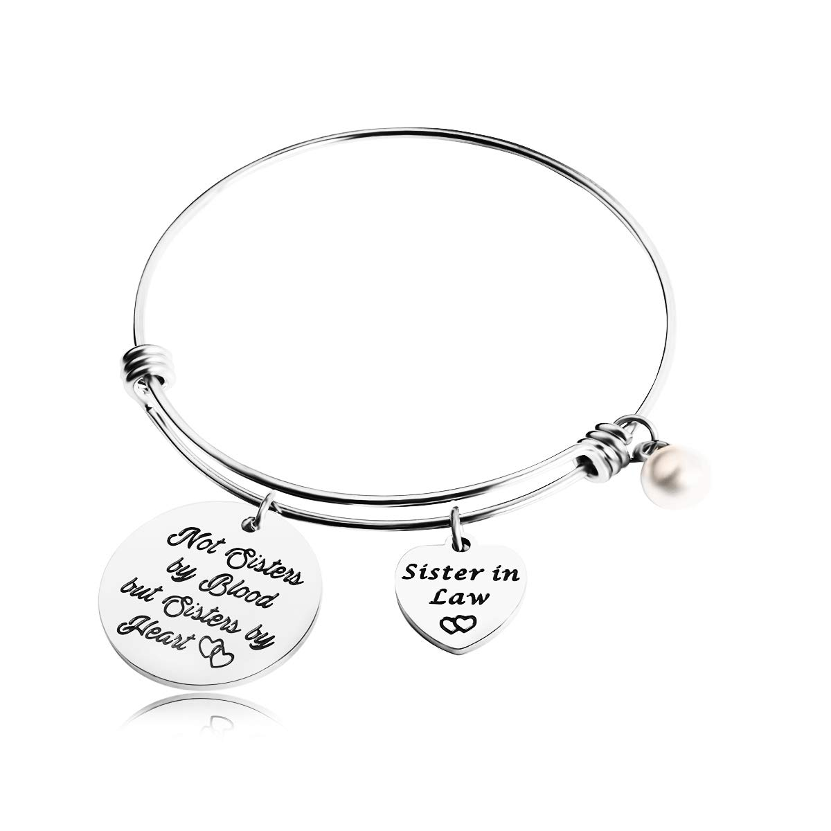 REEBOOO Sister in Law Gift,Wedding Gift for Sister of The Groom,When I Married Your Brother I Gained A Sister Charm Bangle Bracelet (Sister in Law Bracelet)