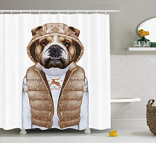 Jesus E Pecor Bulldog Shower Curtain, Illustration of Urban Puppy as a Human in a Down Vest and Xmas Sweater, Cloth Fabric Bathroom Decor Set with Hooks, 72 inches, Pale Brown Baby Blue
