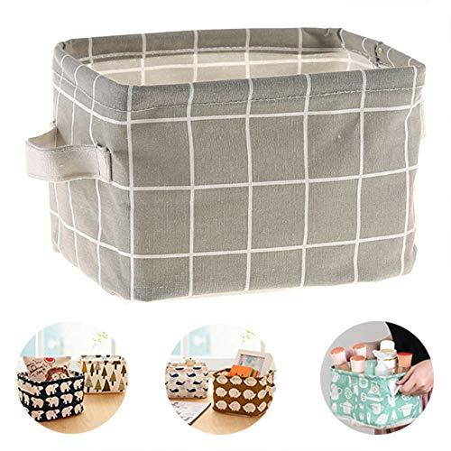 (Oxford Cute Printing Foldable Storage Baskets Bins Mini Boxes Clothes Desktop Organizers Makeup Book Baby Toy (1814.511.5cm, Grey))